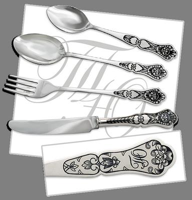 серебряная вилка серебряная ложка серебряный нож