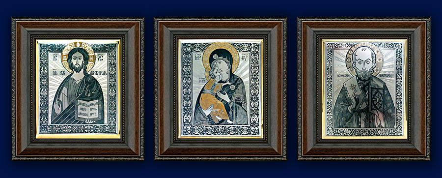 иконы из серебра в натуральном деревянном окладе